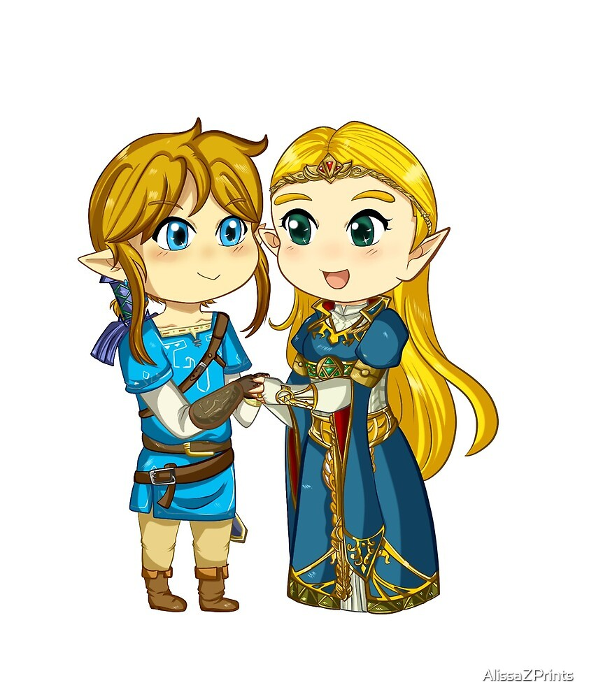 Botw Zelda And Link By Alissazprints Redbubble