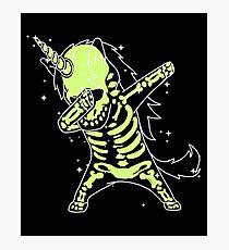 Einhorn-Skelett-Hemd abtupfen Hip Hop-Röntgenstrahl-Glühen-Effekt abtupfen Fotodruck