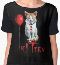 Kitten Clown Scary Fun Spooky Halloween Cat Funny Joke Design Chiffon Top