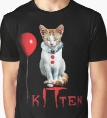 Kitten Clown Scary Fun Spooky Halloween Cat Funny Joke Design Graphic T-Shirt