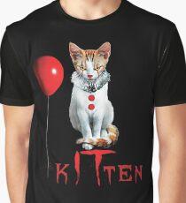Kitten Clown Scary Fun Spooky Halloween Cat Funny Joke Design Graphic T-Shirt