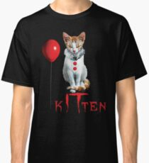 Kitten Clown Scary Fun Spooky Halloween Cat Funny Joke Design Classic T-Shirt