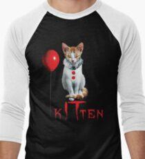 Kitten Clown Scary Fun Spooky Halloween Cat Funny Joke Design Men's Baseball ¾ T-Shirt