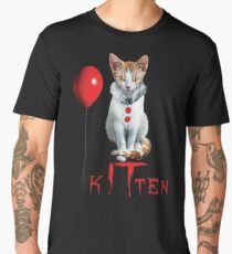 Kitten Clown Scary Fun Spooky Halloween Cat Funny Joke Design Men's Premium T-Shirt