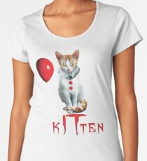 Kitten Clown Scary Fun Spooky Halloween Cat Funny Joke Design Women's Premium T-Shirt