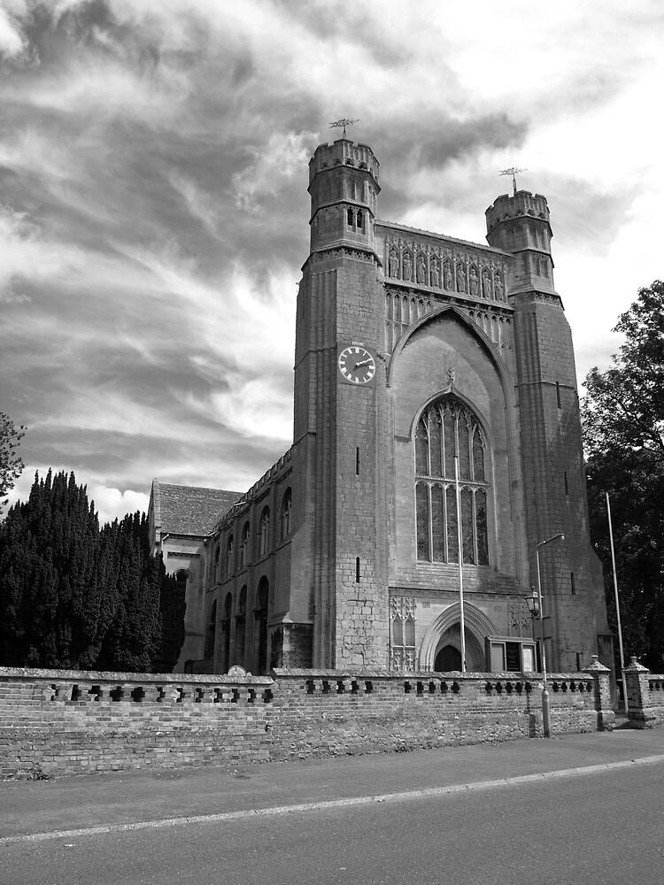 scary church, angry sky by darkmonkuk