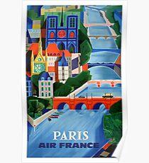 Póster Cartel de viajes de 1960 Air France Paris Bridges