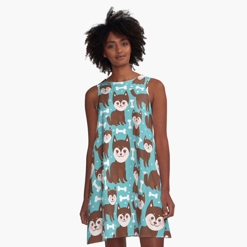 Happy husky puppy A-Line Dress Front