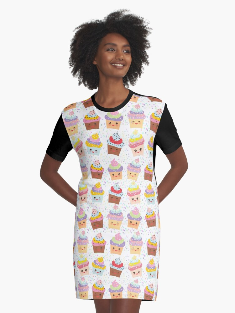 Yummy cupcakes Graphic T-Shirt Dress Front