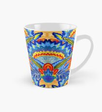 Hand-Painted Abstract Botanical Pattern Brilliant Blue Orange Tall Mug