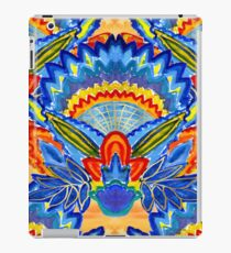 Hand-Painted Abstract Botanical Pattern Brilliant Blue Orange iPad Case/Skin