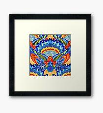 Hand-Painted Abstract Botanical Pattern Brilliant Blue Orange Framed Print