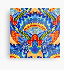 Hand-Painted Abstract Botanical Pattern Brilliant Blue Orange Metal Print