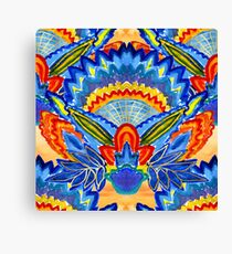 Hand-Painted Abstract Botanical Pattern Brilliant Blue Orange Canvas Print