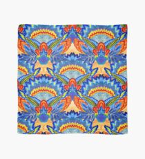 Hand-Painted Abstract Botanical Pattern Brilliant Blue Orange Scarf
