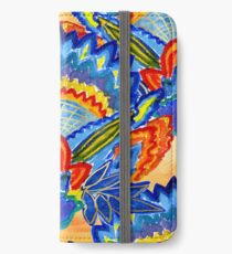 Hand-Painted Abstract Botanical Pattern Brilliant Blue Orange iPhone Wallet/Case/Skin