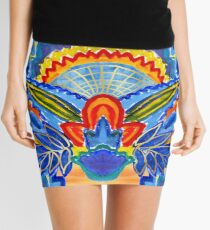 Hand-Painted Abstract Botanical Pattern Brilliant Blue Orange Mini Skirt