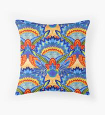 Hand-Painted Abstract Botanical Pattern Brilliant Blue Orange Floor Pillow