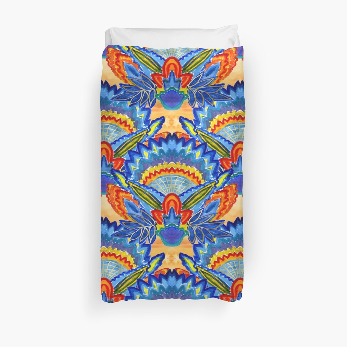 Hand-Painted Abstract Botanical Pattern Brilliant Blue Orange by Beverly Claire Kaiya