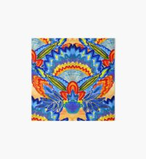 Hand-Painted Abstract Botanical Pattern Brilliant Blue Orange Art Board