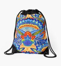 Hand-Painted Abstract Botanical Pattern Brilliant Blue Orange Drawstring Bag