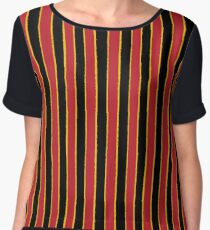 Coral Snake Stripe : Distressed Stripes Traditional Pattern Red Black Yellow Women's Chiffon Top