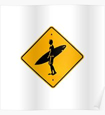 Surf sign, surfer surfing design Poster