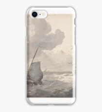 Two masts and fishing boat off the coast, Petrus Johannes Schotel iPhone Case/Skin