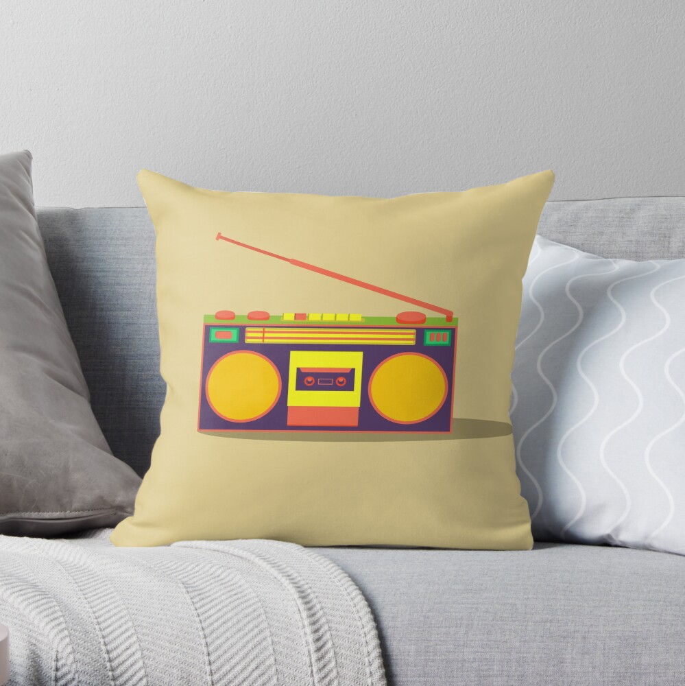 boombox - old cassette - Devices Throw Pillow