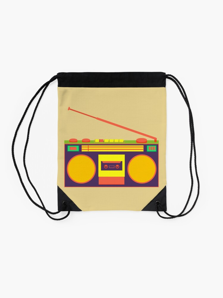 Alternate view of boombox - old cassette - Devices Drawstring Bag