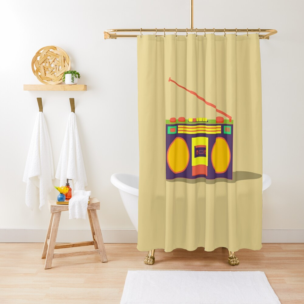 boombox - old cassette - Devices Shower Curtain