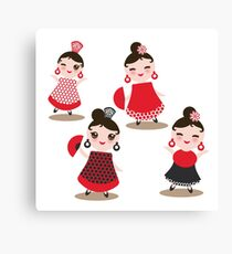 Flamenco dancers on black Canvas Print