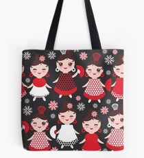 Flamenco dancers on black Tote Bag
