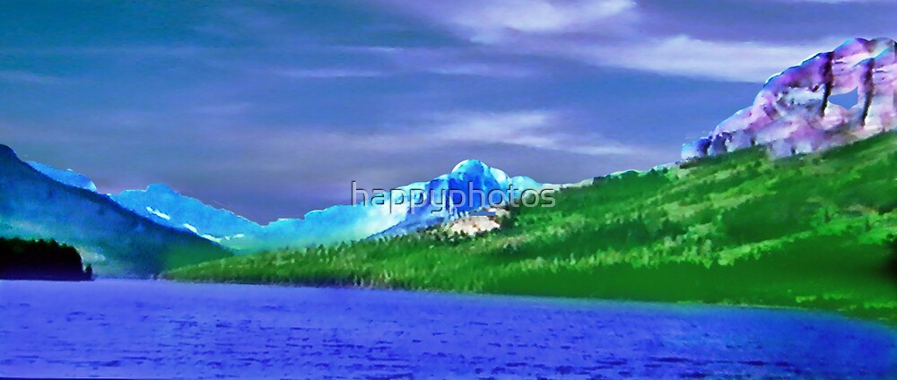 Beautiful blue water, green grass purple mountain and clouds by happyphotos