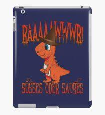 Orangener Halloween Dino: Rawr! Süßes Oder Saures! iPad-Hülle & Klebefolie