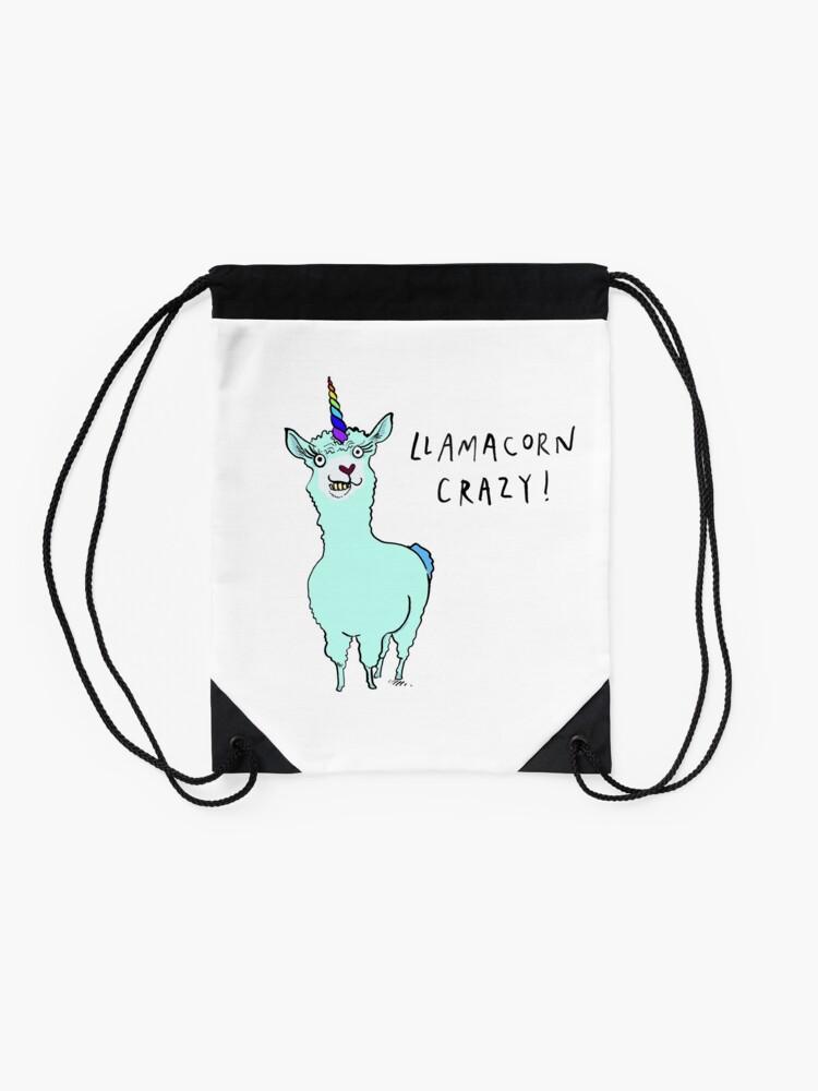 Alternate view of Llamacorn Crazy! Drawstring Bag