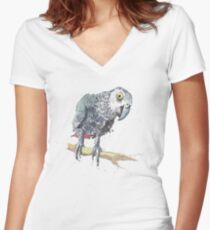 African Grey Parrot Women's Fitted V-Neck T-Shirt