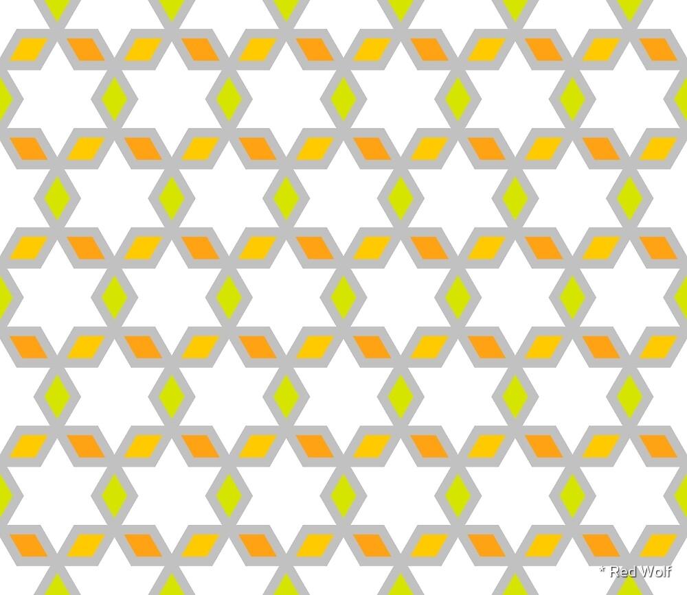 Geometric Pattern: Hexagon Star Diamond: White by * Red Wolf
