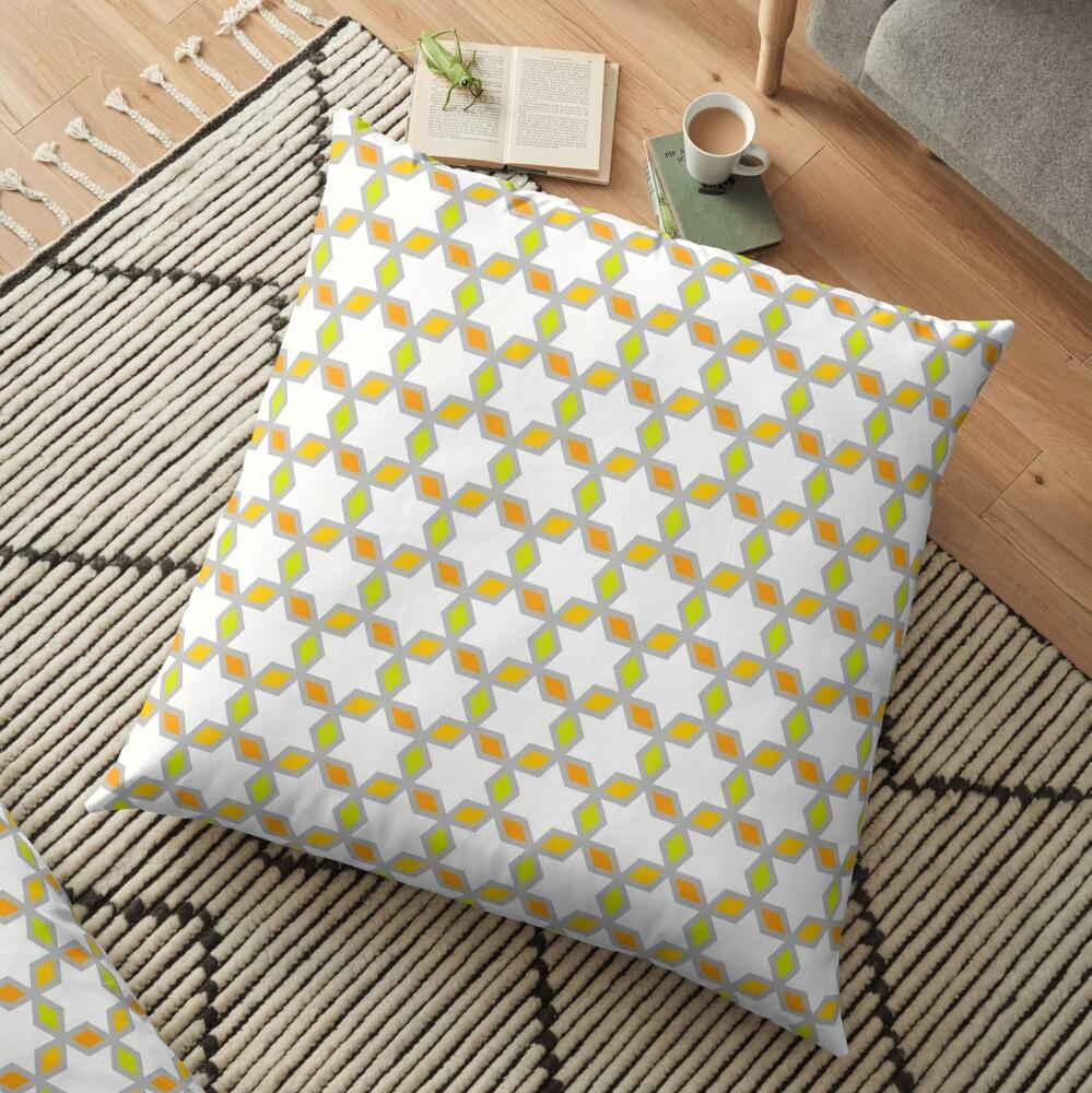 Geometric Pattern: Hexagon Star Diamond: White Floor Pillow