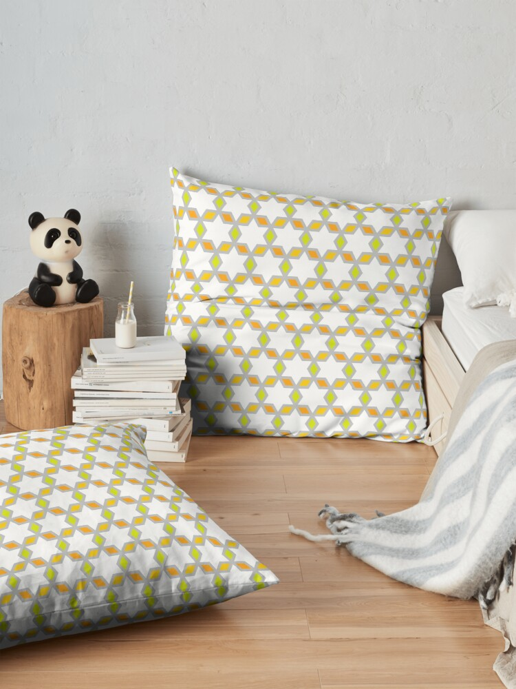 Alternate view of Geometric Pattern: Hexagon Star Diamond: White Floor Pillow