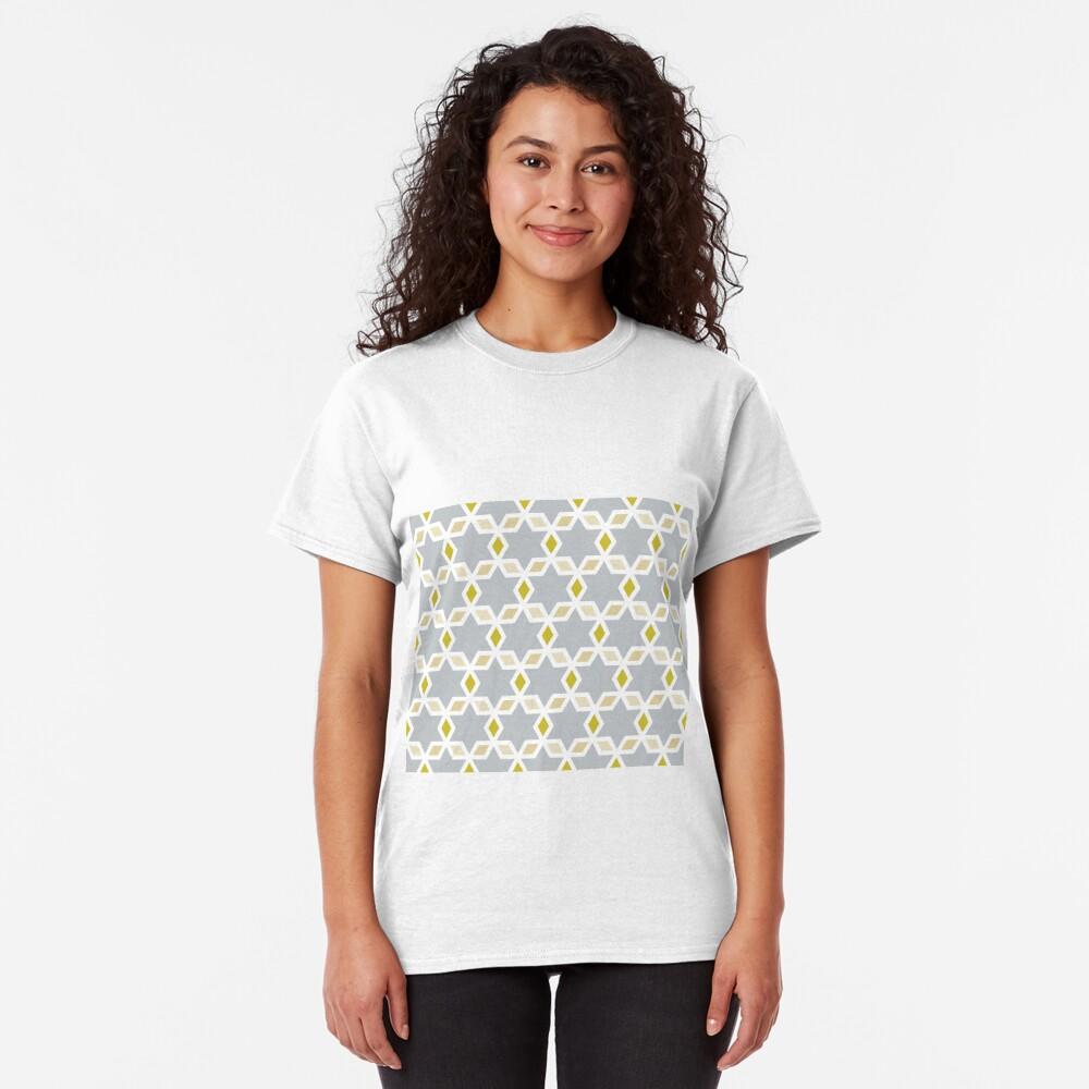Geometric Pattern: Hexagon Star Diamond: Grey Classic T-Shirt