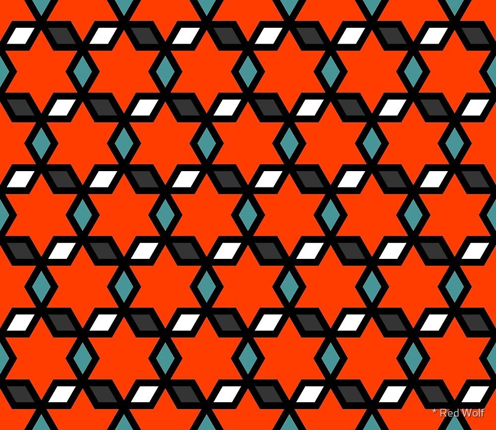 Geometric Pattern: Hexagon Star Diamond: Red by * Red Wolf