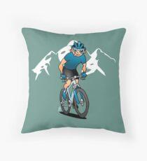 MTB - Mountain biker in the mountains Throw Pillow