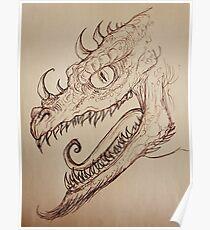 Sepia Tone Dragon Poster