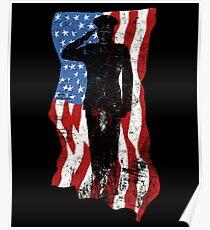 Veterans Don't Kneel - American Flag Veteran Salute Poster