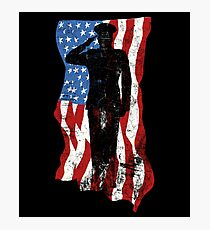 Veterans Don't Kneel - American Flag Veteran Salute Photographic Print
