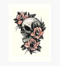 Lámina artística Calavera y rosas
