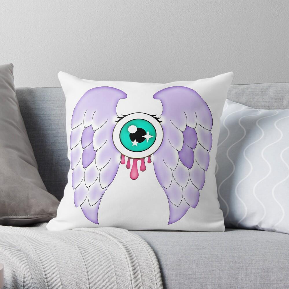 Pastel Goth | Winged Eye | White Throw Pillow