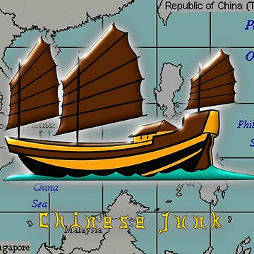 A Chinese Junk on a Map of the South China Sea 206BCE to 220CE by ZipaC