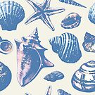 Seashells Pattern 3 - Faded Blue by SamNagel